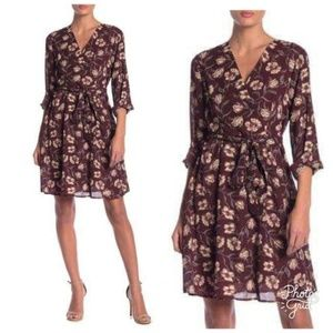 Bobeau Wine Khaki Romantic Floral Dress